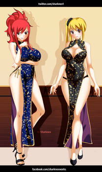Fairy Tail - Erza and lucy fanart by sharknex