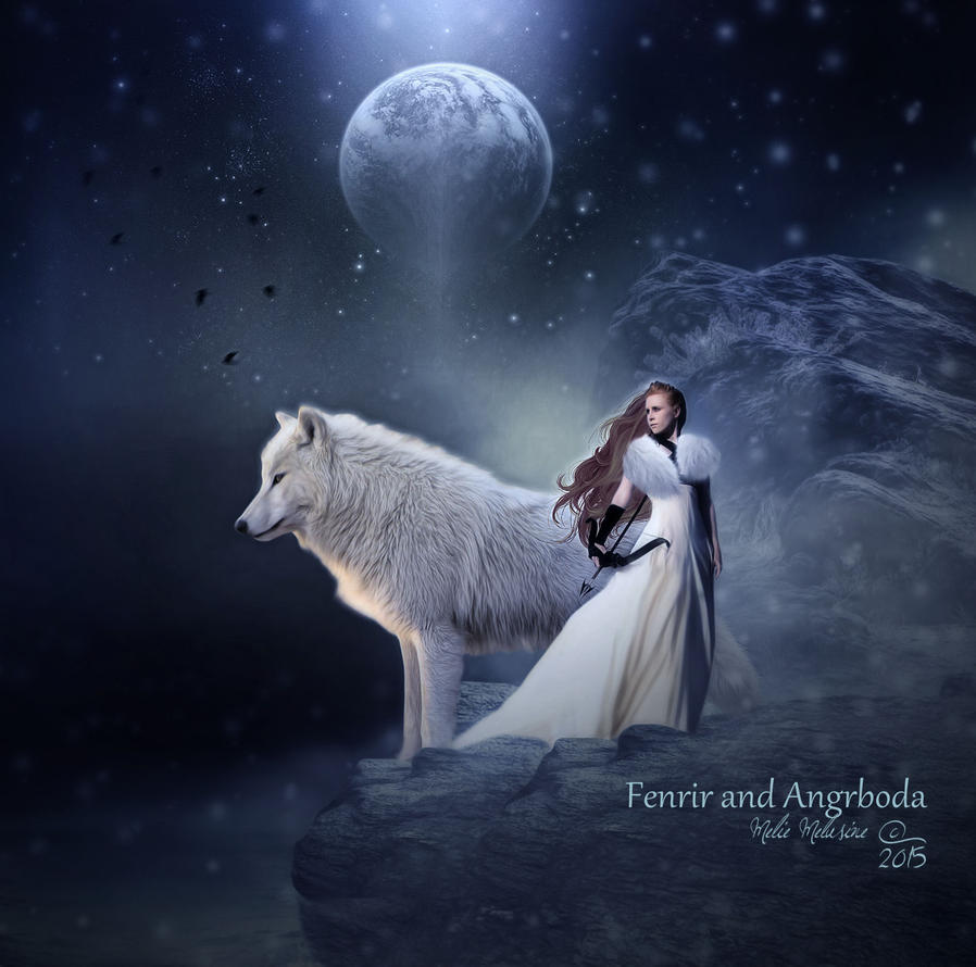 Fenrir and Angrboda by MelieMelusine