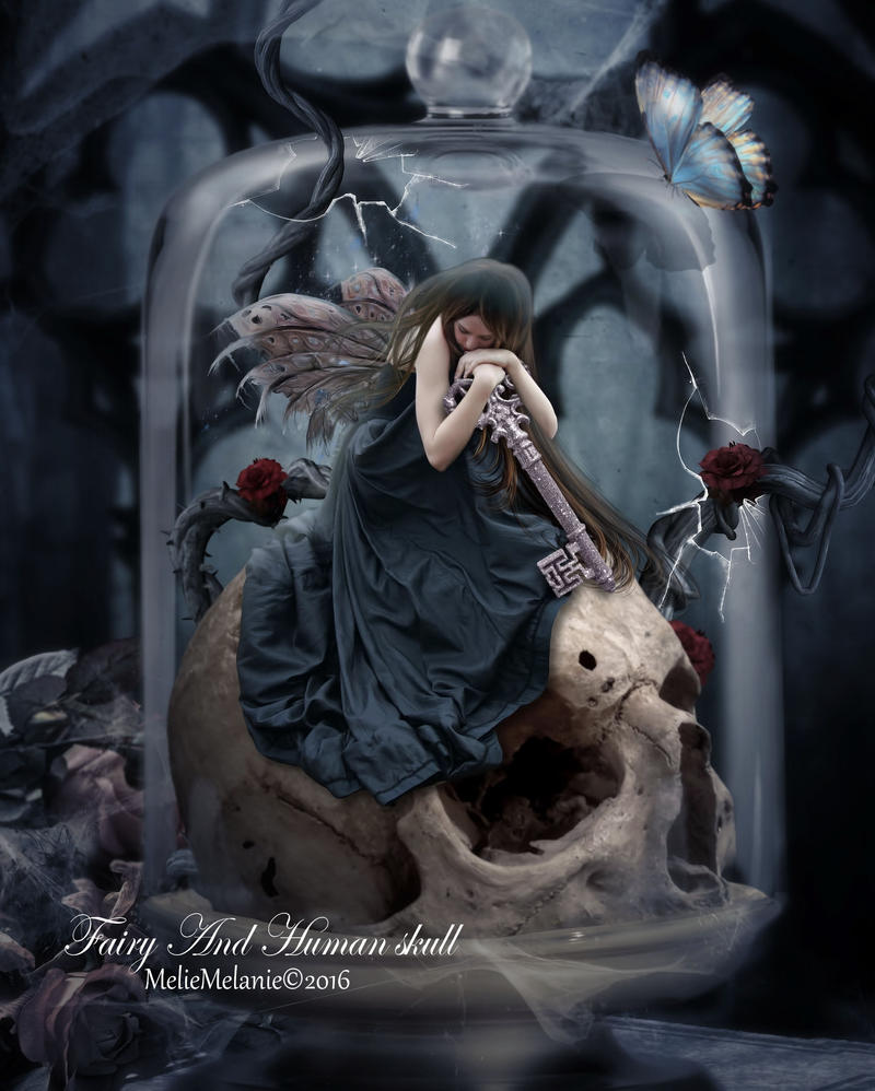 Fairy And Human skull by MelieMelusine