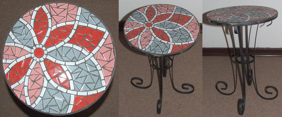 Flower wrought iron mosaic table Red by EleonoraIlieva