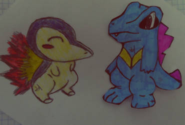 Totodile and Cyndaquil by Woouu