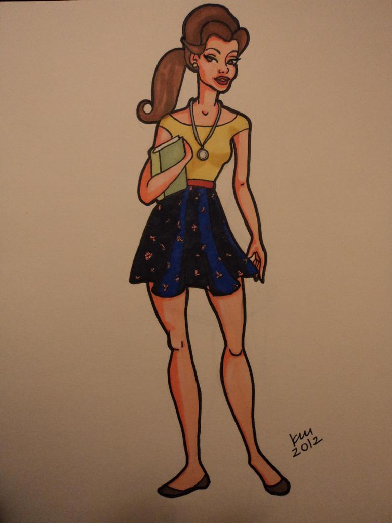 Disney high belle by happyeverafter fan art traditional art drawings