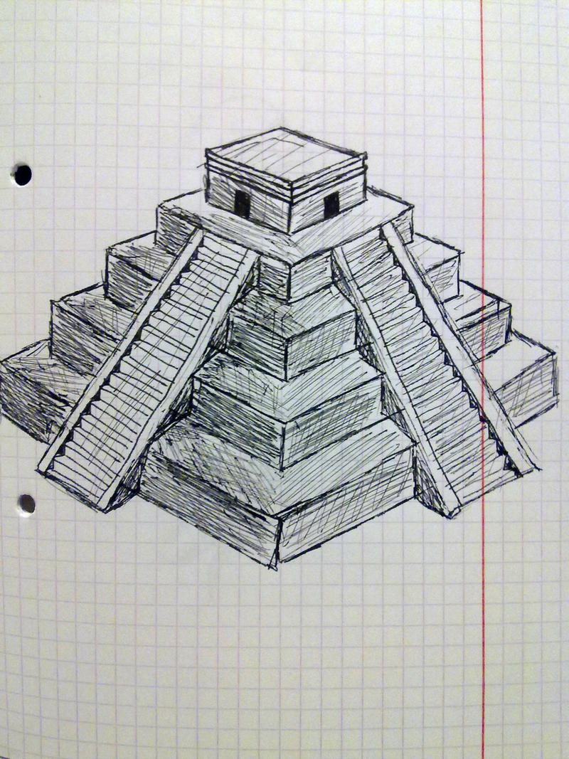 aztec pyramid - Drawing by Davenava | DrawingNow