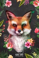 Fox of Spring - Pop Art collection - Original Art by Ruby--Art