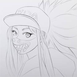 Akali KDA Sketch by Ruby--Art