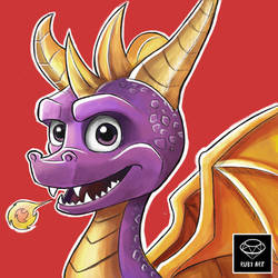 Spyro Doodle with color by Ruby--Art