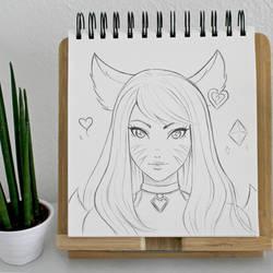 Ahri K/DA Sketch by Ruby--Art