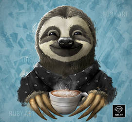 Sloth with Coffee Latte by Ruby--Art