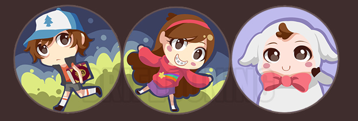 Gravity Falls Buttons by driflooning