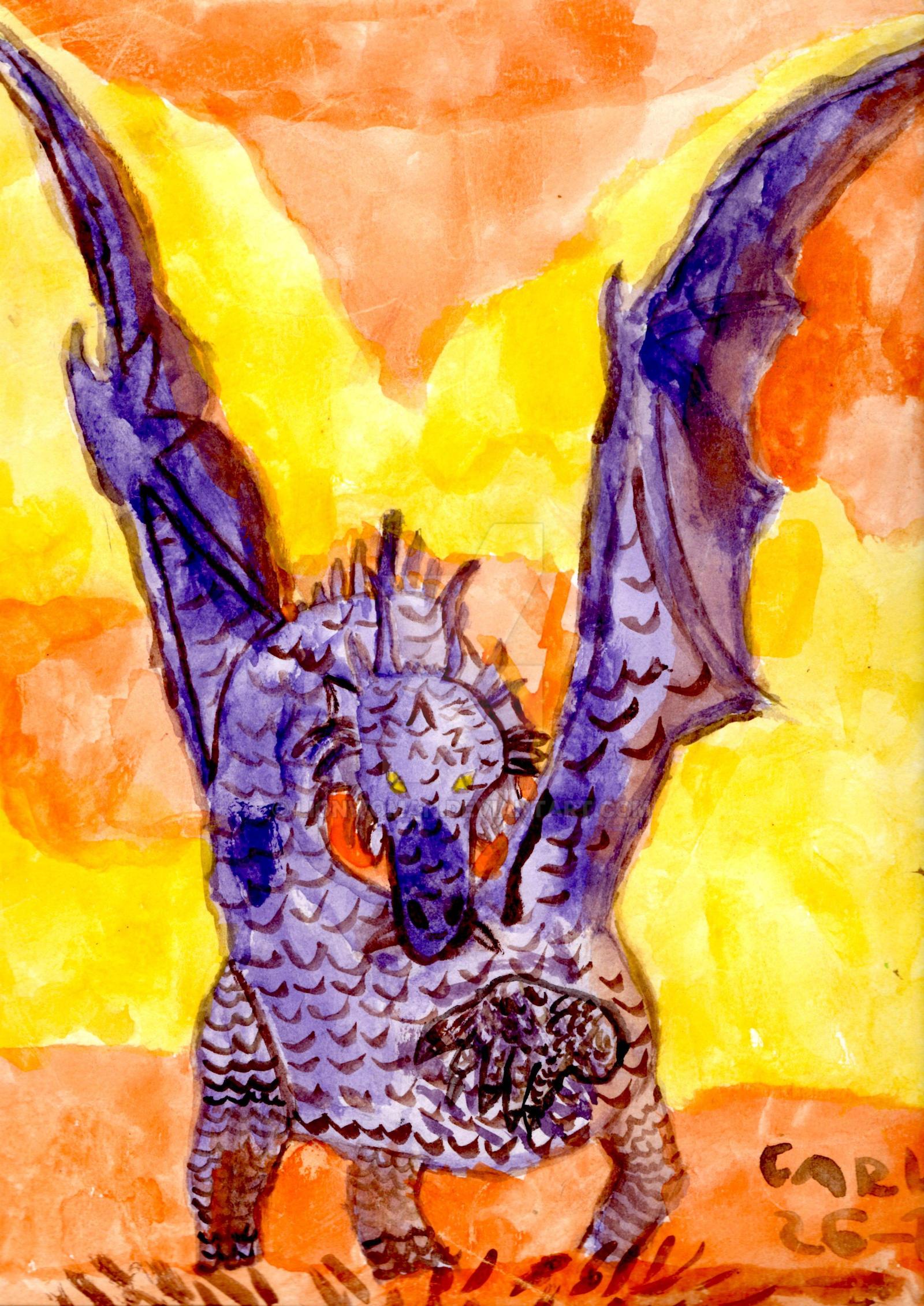 Purple Dragon Watercolor By Lionwoman On Deviantart