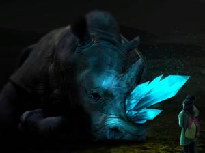 Fantasy glowing Rhino