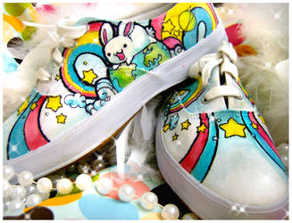 Rainbow Space Bunny Shoes by pinkbutterflyofdeath
