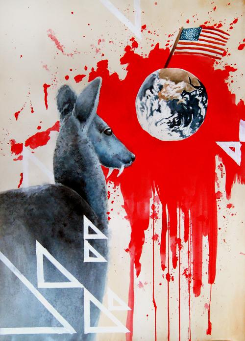 Vampire deer looks over America by pinkbutterflyofdeath