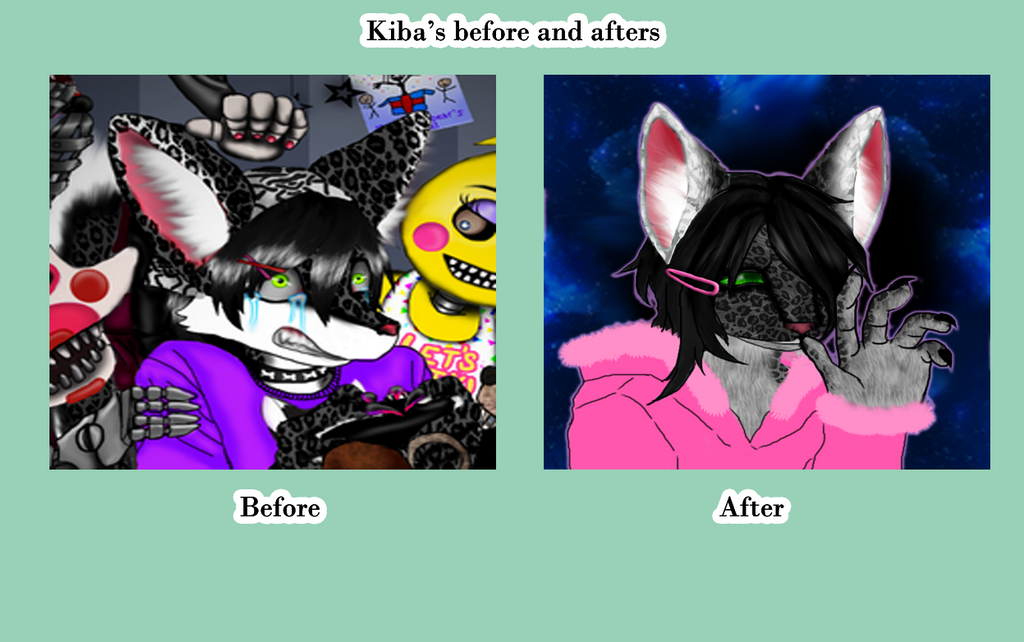 Kiba's before and after looks 2 art styles i use by Blutengle