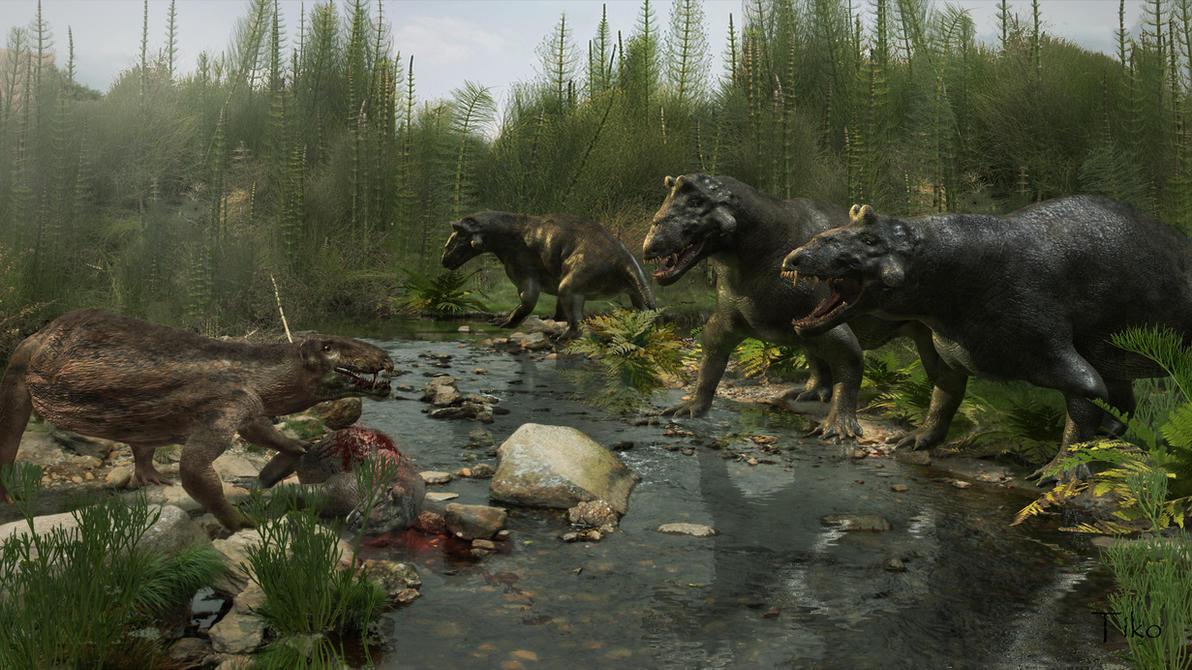 Estemmenosuchus uralensis and eotitanosuchus by Ntvtiko