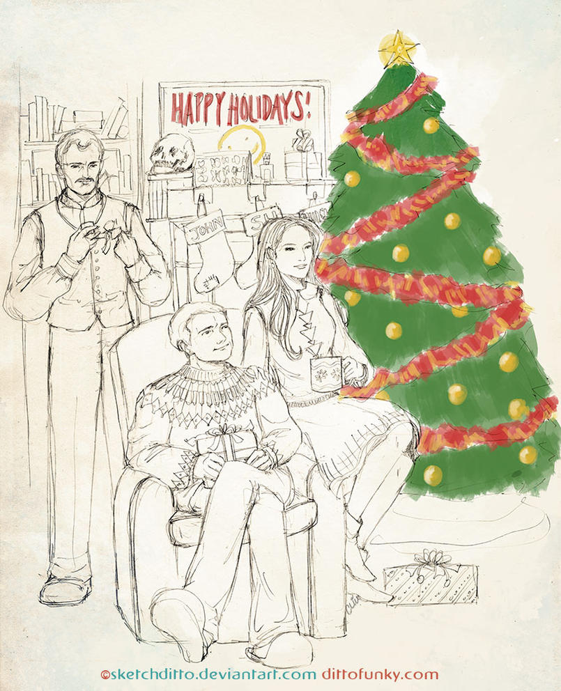 Christmas with the Holmes and Watsons - WIP by sketchditto