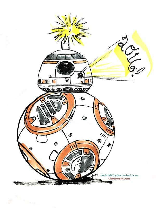A belated BB-8 New Year Greeting by sketchditto