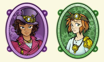 Two steampunk characters by juzo-kun