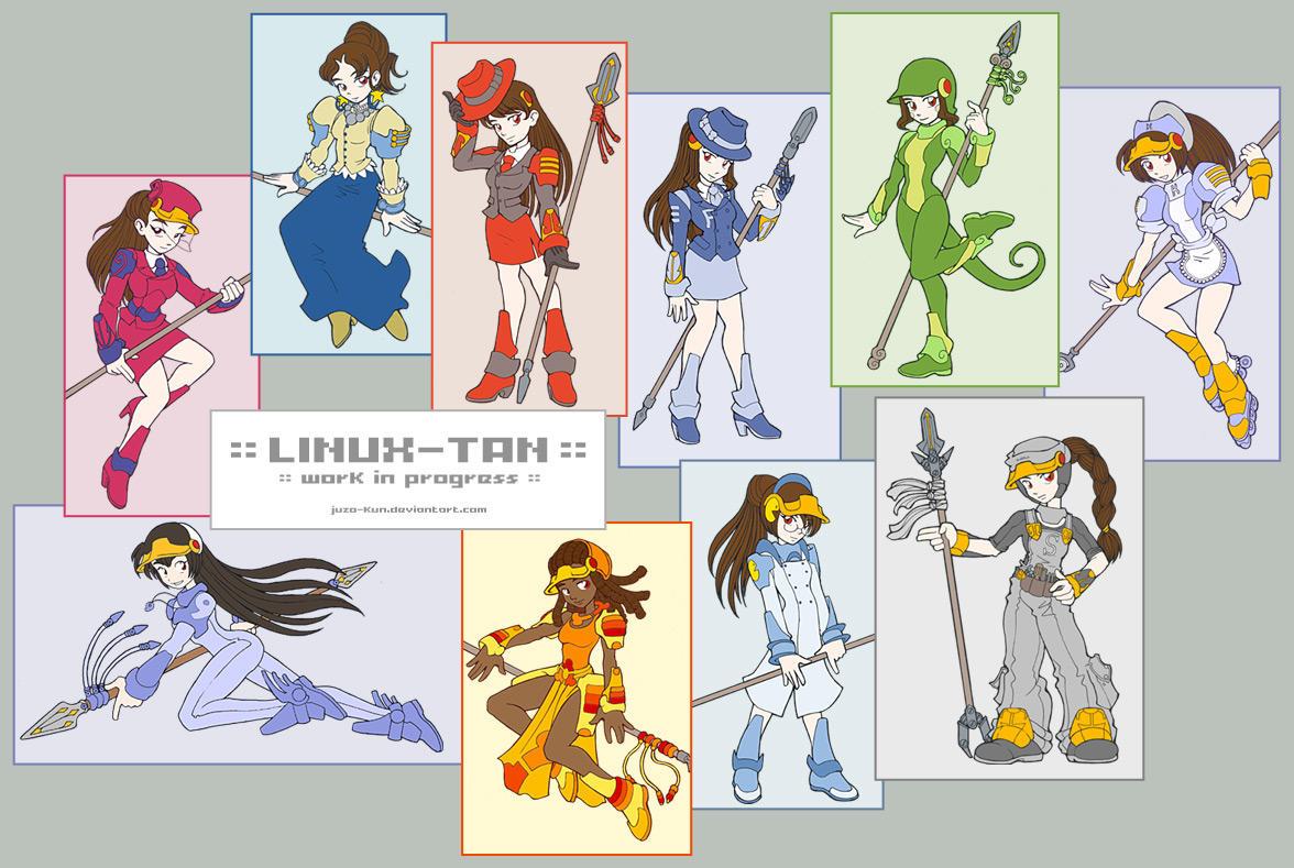 Linux-tan - Lineart by juzo-kun