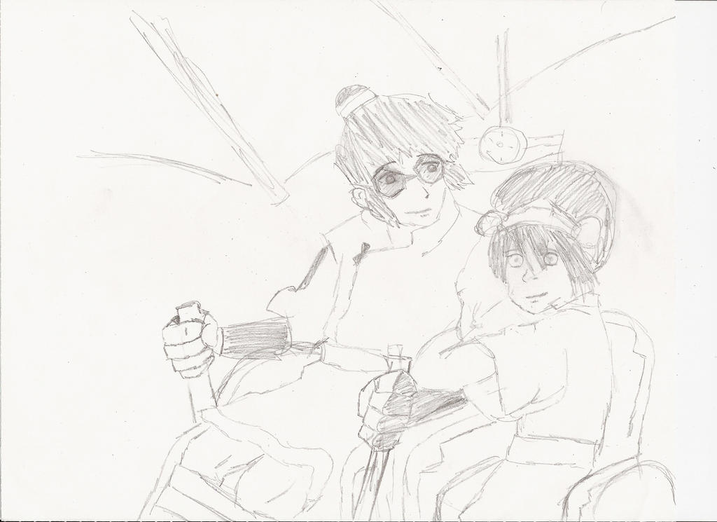Sketch: Toph in a sidecar by Raelessa