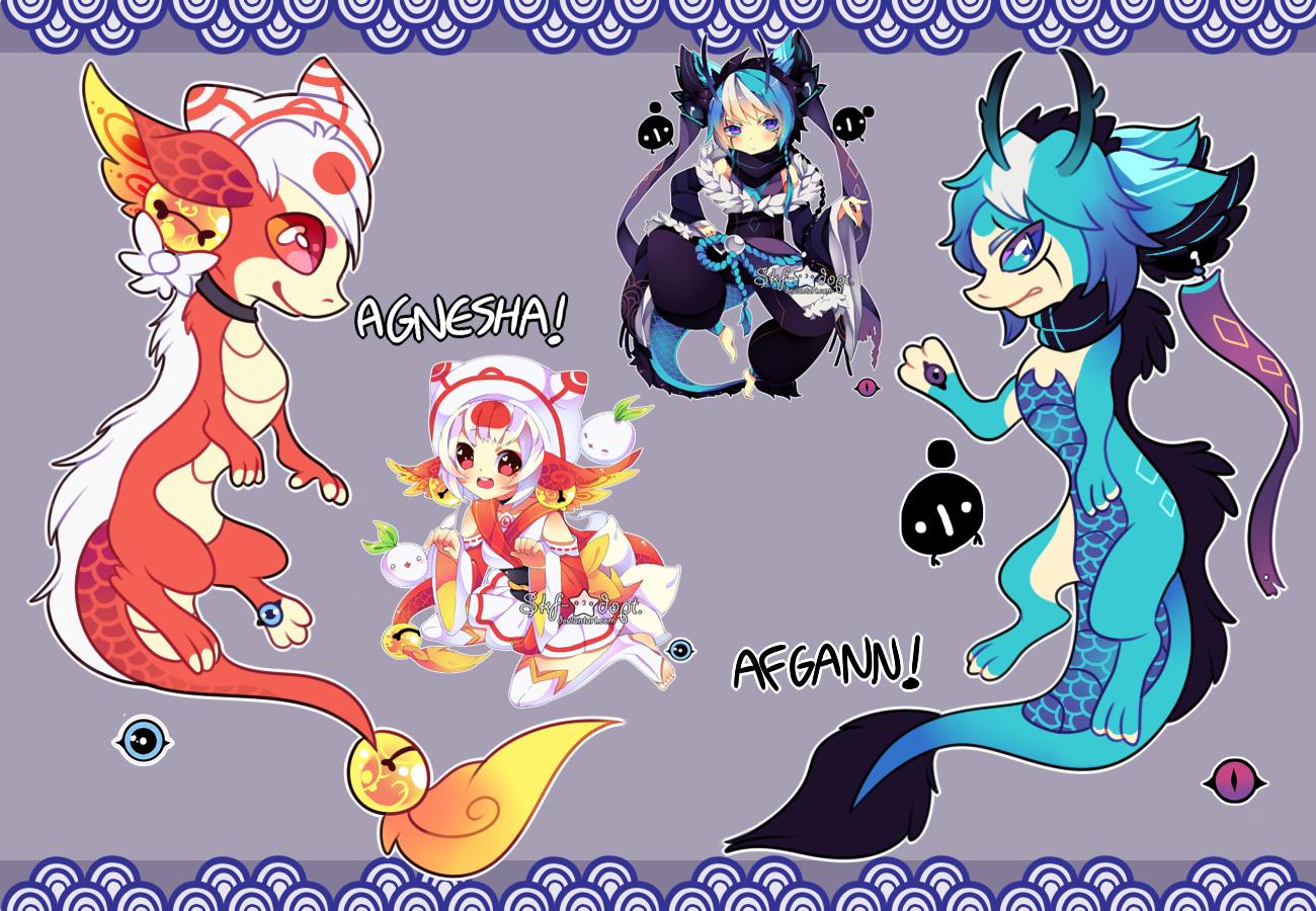 Dragon!Forms: Agnesha and Afgann by RayFierying