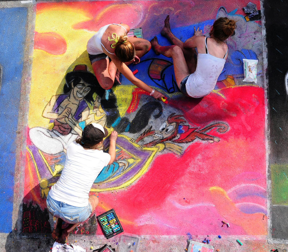 Barefoot Street Chalk Artists With Dirty Legs/Feet by BarefootGuy