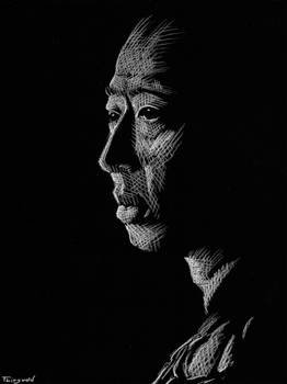 White charcoal portrait 1