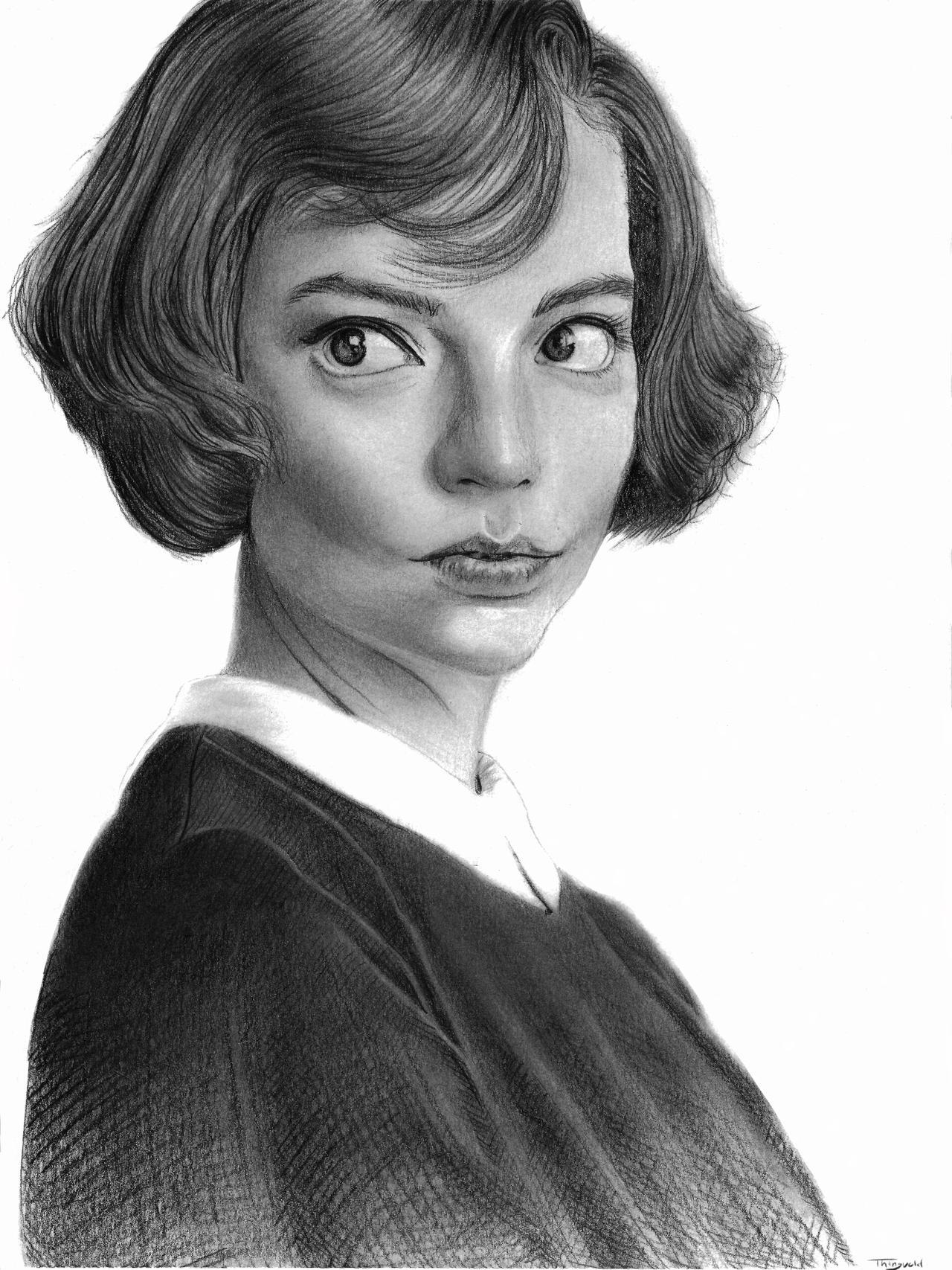 Beth Harmon pencil portrait