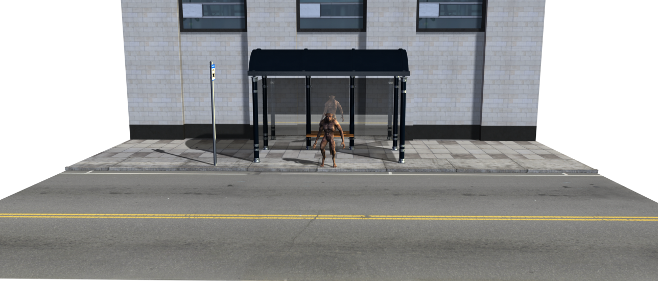 Werewolf at the bus stop by scholarwarrior-lad