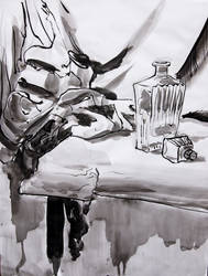 Bottle and Cloth Still Life by ironladyisfe
