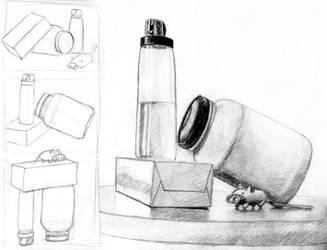 Still Life with Jars and a Flashlight by ironladyisfe