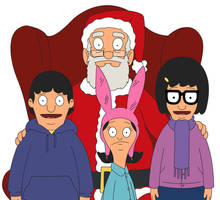 Tina, Louise and Gene Belcher with Santa