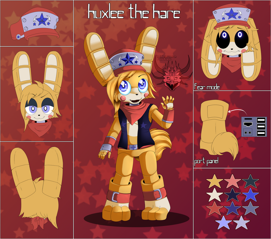 FNAF OC/FC .: Huxlee The Hare Ref Sheet :. By StarEmber On