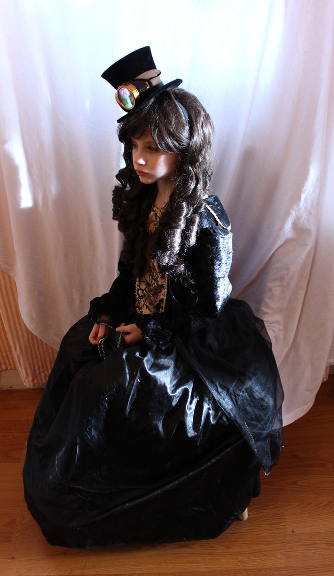 Steampunk Girl Sitting 1 by Pulling-Stock