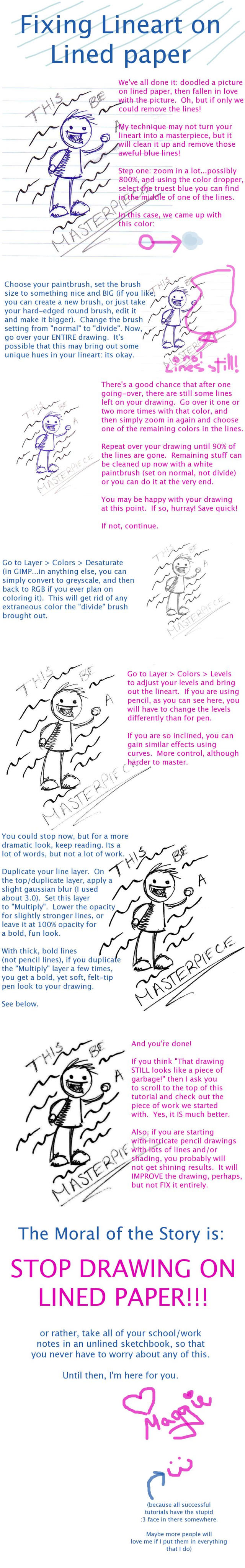 Removing Lined Paper Lines