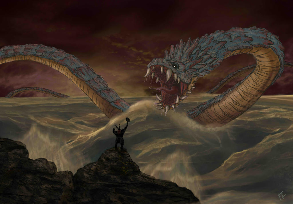 Image of Thor vs Jormungandr last battle