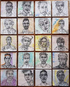 Selection of portraits on recycled tiles