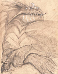 Dragon on toned paper