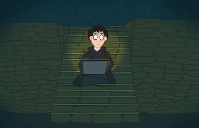 Sherlock in theAbyss(DarkSouls)browsing deviantart by RitaPita9