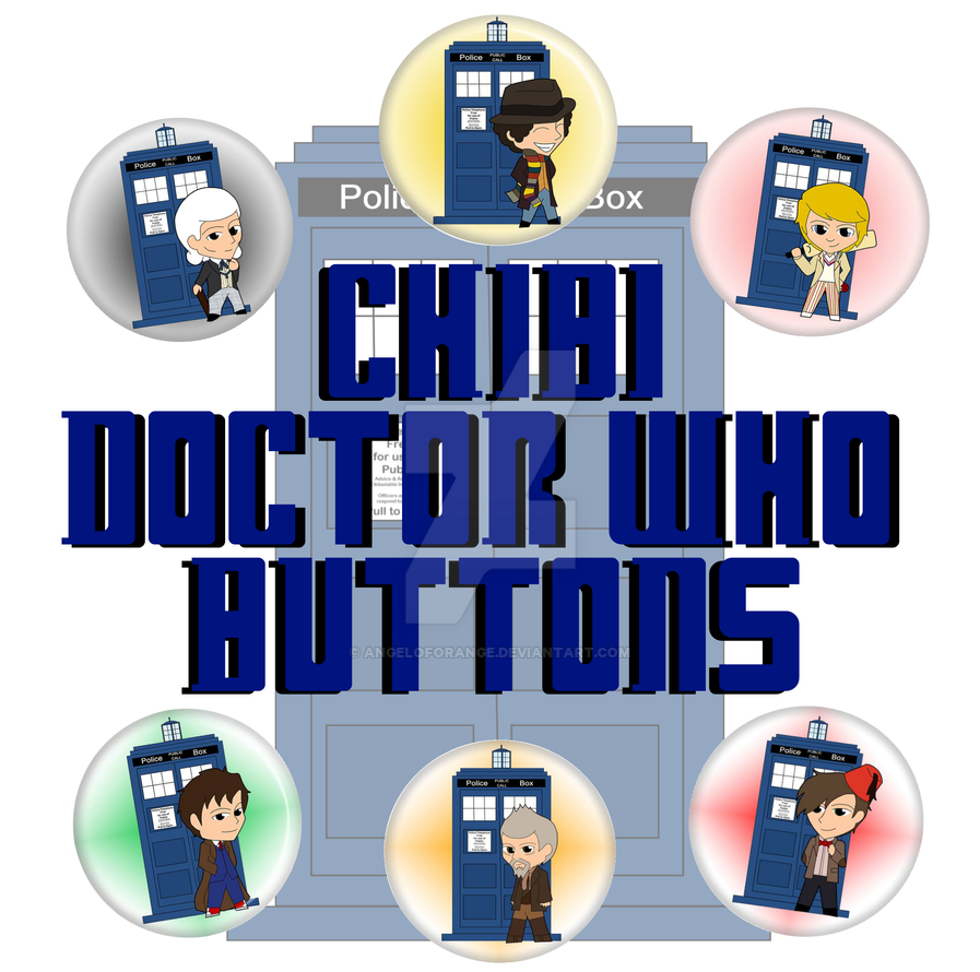 Chibi Doctor Who Buttons are ready to sell! by AngelofOrange