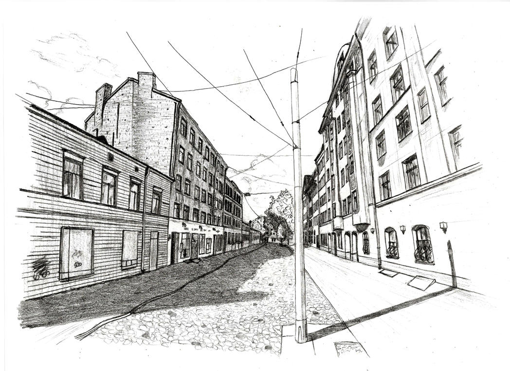Riga in perspective (pencil) by AOvsepian on DeviantArt