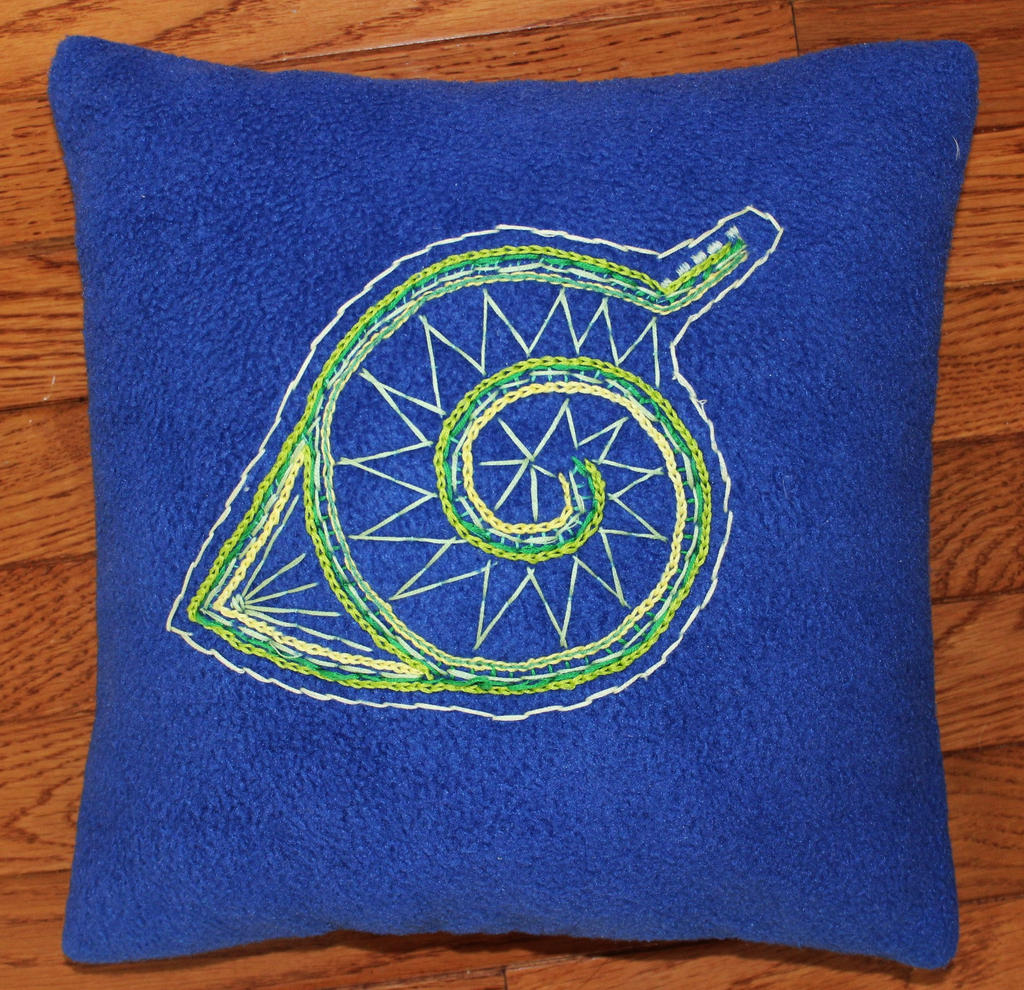 Konoha leaf symbol embroidered pillow by