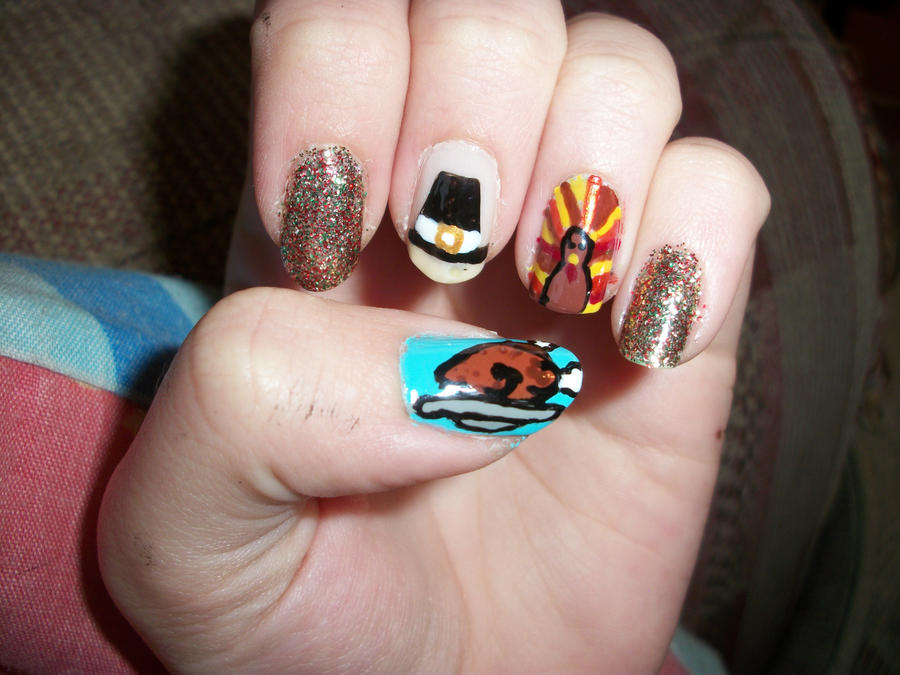 Thanksgiving Nail art by QueenAliceOfAwesome