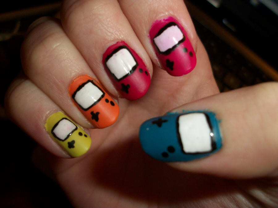 GameBoy Color Nails by QueenAliceOfAwesome on DeviantArt