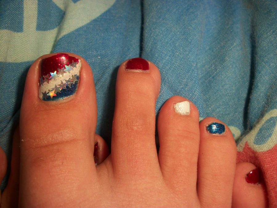 Fourth Of July Toe Nails By QueenAliceOfAwesome On DeviantArt