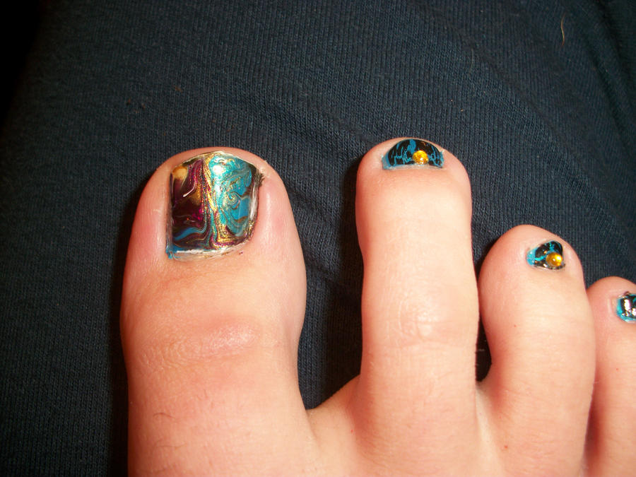 Waterless Water Marbel Peacock Toe Nails By Queenaliceofawesome On