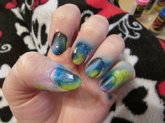 Airbrush Galaxy Nails BEFORE Clean-up by QueenAliceOfAwesome on ...