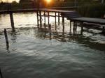 Pier I, sunset, Lake Neusiedl