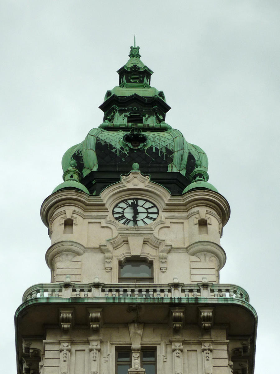 City hall Gyor, looking up