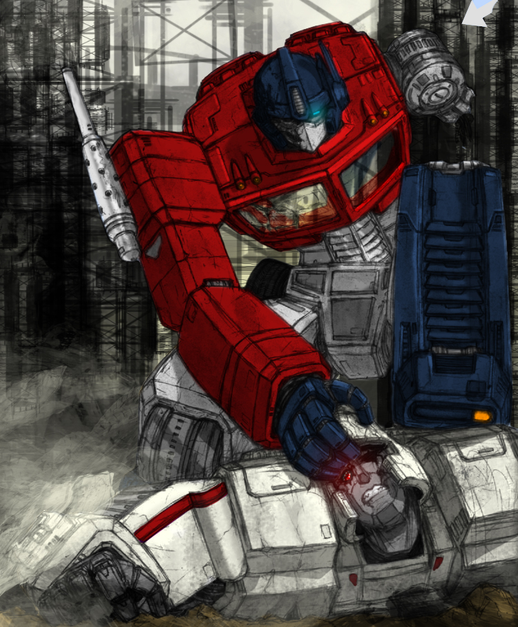 Optimus Vs. Megatron by corguitarist